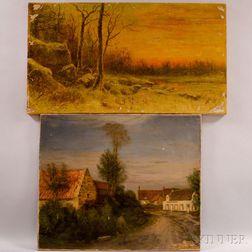 Jean Charles Cazin (French, 1841-1901)      Two Unframed Landscapes: L'Estaminet