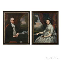 Attributed to Ralph Earl (Connecticut, Massachusetts, 1751-1801), Pair of Portraits of Northhampton, Massachusetts, Clockmaker Isaac Ge