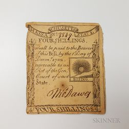 "December 1, 1779 Massachusetts 4 Shillings ""Rising Sun"" Note, Fr. MA-272"