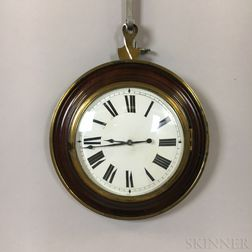 English Mahogany, Brass, and Glass Hanging Wall Clock