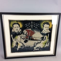 Framed Lindbergh and Nungesser Aviation Tapestry