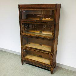 Globe-Wernicke Glazed Oak Four-stack Barrister Bookcase