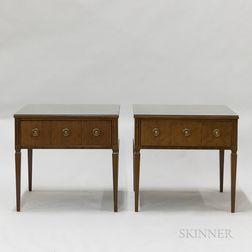 Pair of Kittinger Louis XVI-style Walnut Veneer Side Tables