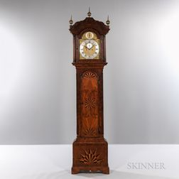 Burl Veneered and Highly Inlaid Longcase Clock