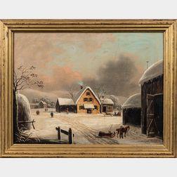 American School, 19th Century      Farmhouse and Barn in Winter