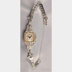 Lady's Platinum and Diamond Wristwatch, Hamilton