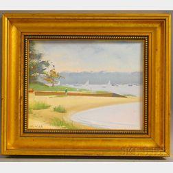 Robert Douglas Hunter (American, b. 1928)      Beach Scene on a Summer Day