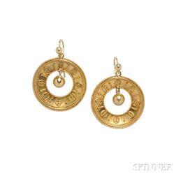 Archaeological Revival Gold Earrings