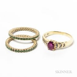 Two 18kt Gold and Peridot Bands and a 14kt Gold, Ruby, and Diamond Ring