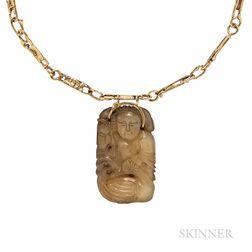 V. Ferrini 14kt Gold and Hardstone Pendant Necklace