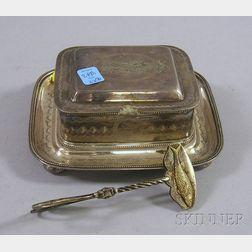 British Silver Plated Sardine Box and Tongs