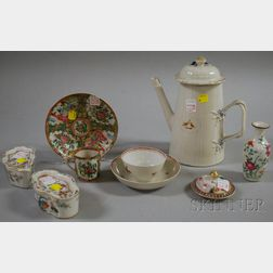Eight Chinese Export Porcelain Table Items