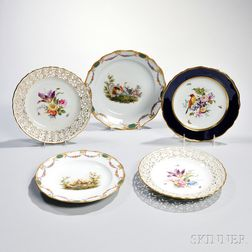 Five Meissen Porcelain Plates with Floral and Bird Scenes