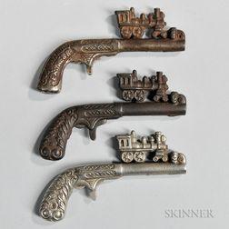Three Cast Metal Locomotive Toy Cap Guns