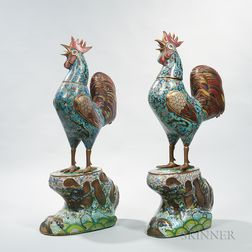 Pair of Large Bronze and Cloisonné Roosters