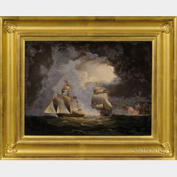 Possibly Thomas Buttersworth Jr. (England, 1797-1842)      Chasing a Pirate Ship