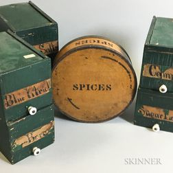 Maple Stenciled Round Spice Box and Six Green-painted Slid-lid Boxes