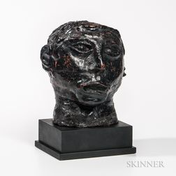 Black-painted Terra-cotta Head