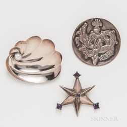 Three Mexican Sterling Silver Brooches by Antonio Pineda and William Spratling