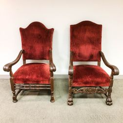 Baroque-style Carved and Upholstered Oak Armchairs