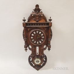 Renaissance Revival Carved Walnut Wall Clock