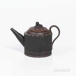 Turner Encaustic Decorated Black Basalt Teapot and Cover