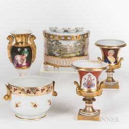 Five Old Paris and English Porcelain Items