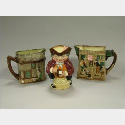 Royal Doulton The Pickwick Papers/The White Hart Inn and The Old Curiosity Shop Ceramic Water Pitchers and Toby XX Jug, later pit