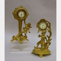 Two Art Nouveau Gilt Cast Metal Figural Table Clocks