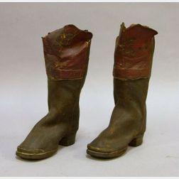 Pair of 19th Century Miniature Salesman's Sample Leather Fireman's Boots
