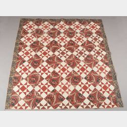 Pieced Glazed Chintz and Calico Cotton Quilt