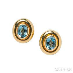 18kt Gold and Aquamarine Earclips, Paloma Picasso for Tiffany & Co.