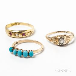 Three Antique Gold Rings