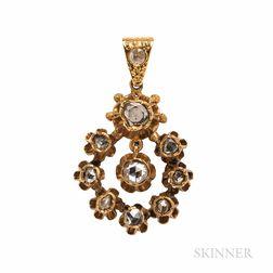 Antique Gold and Rose-cut Diamond Pendant