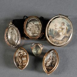 Six Pieces of Mourning Jewelry