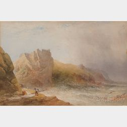 Attributed to William Cook, (British, c. 1830-1890)      Shipwreck on a Rocky Coast