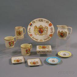 Ten Commemorative Elizabeth and George VI Coronation Porcelain Items