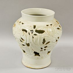 Openwork White-glazed Vase