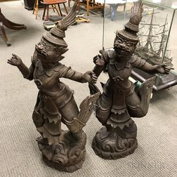 Three Southeast Asian Carved Wood and Metal Statues