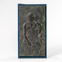 Bronze Plaque of an Indian in Profile