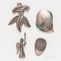 Four Pieces of Los Castillo Jewelry