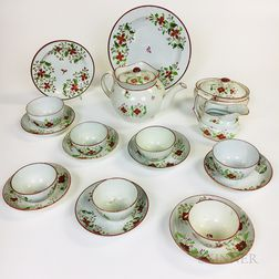 Nineteen-piece Floral-decorated Pearlware Tea Service