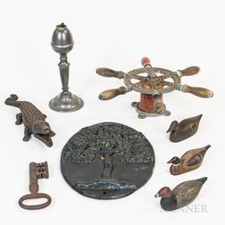 Small Group of Decorative Wood and Metal Items