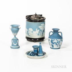 Four Wedgwood Light Blue Jasper Items