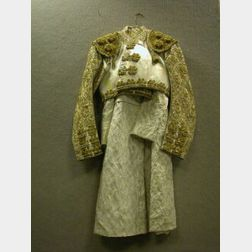 Gold Thread and Sequin Applied White Satin Matador Jacket and a Ladys Brocade Coat.