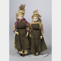 Two Small French Bisque Lady Dolls