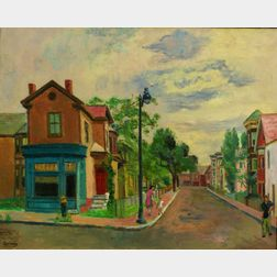 Edmund Quincy (American, 1903-1997)    Street with Figures