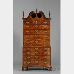Chippendale Mahogany Carved Scroll-top Oxbow Chest-on-Chest