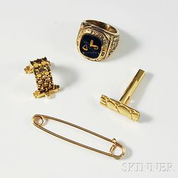 Gold Ring, Two Cuff Links, and a Safety Pin