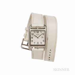 "Hermes Stainless Steel and Leather ""Cape Cod"" Wristwatch"